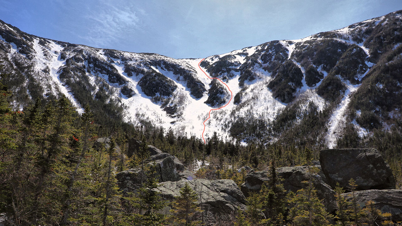 Spring Climb and Ski Descent on Mount Adams' King Ravine Great Gully Trail