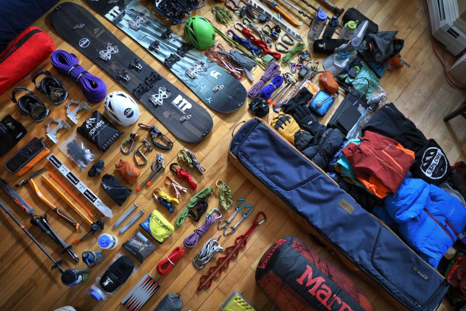 The Between The Peaks Team's Gear Spread and Packing List to Splitboard Denali